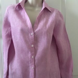 BROOKS BROTHERS 100% Linen Classic Blouse sz 4